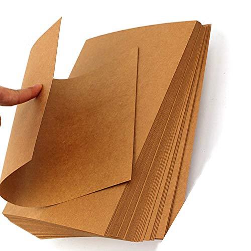 Bruin Kraft Papier, 50 Vellen LIWUTE Gerecycled Natuurlijke Kraft Kaart A4 DIY Hand Maak Kaart Maken Craft Papier Hoge Kwaliteit Dikke Papier Karton Bruin Kraft Papier,6 Grootte, A4