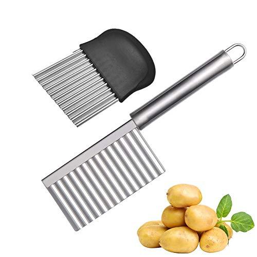 2 Stück Chip Cutter, Kartoffelhacker Edelstahl Crinkle Cut Chip Cutter Crinkle Messer für Kartoffel Gurke Karotte