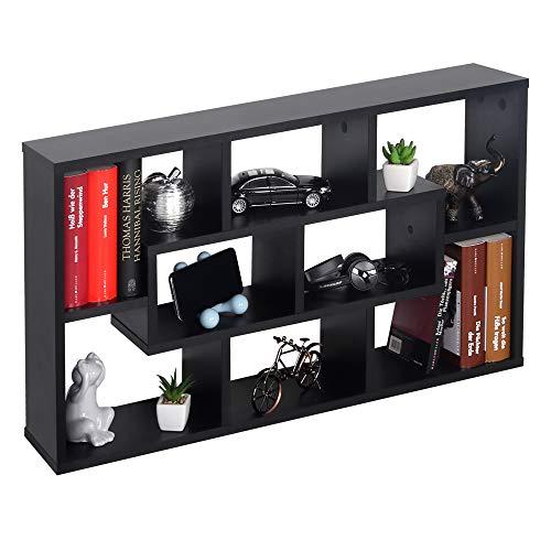 RICOO WM050-S Wandregal 85x48x16 cm Holz Schwarz Schmal Mini Hänge-Regal Bücher-Regal für die Wand Schwebe-Regal Stand-Regal Eck-Regal