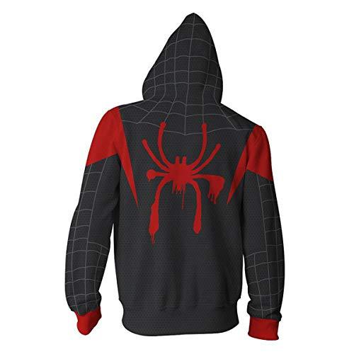 Sweat à Capuche Homme pour Déguisement de Spiderman Miles Morales, Halloween Cosplay Costume pour Into The Spider-Verse, 3D Imprinté Manches Longues (M),Noir