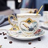 MAZ Set de Taza de Café de Porcelana Jungle Animal Taza de Café Y Platillo Pájaro Mono Estilo Oro Hueso de Oro Taza de Té,2