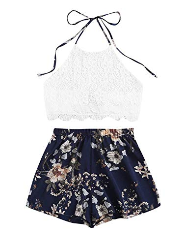 SheIn Women's Floral Twopiece Sleeveless Halter Lace Cami Crop Top and Short Set Dark Blue Flower Medium