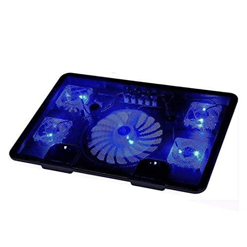 Cojín de enfriamiento portátil del enfriador de laptop 10-17 pulgadas del juego de la computadora portátil del refrigerador de ventilador tiene 5 ventiladores DUAL USB PORT LED Fondo Luz de la luz Cua