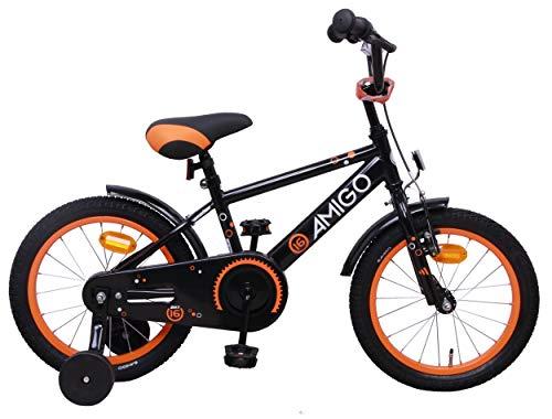 Amigo Sports - Bicicleta Infantil de 16 Pulgadas - para niños de 4 a 6 años - con V-Brake, Freno de Retroceso, Timbre y ruedines - Negro