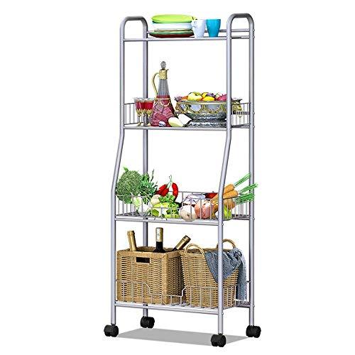 JKUNYU 4-Tier cesta Microondas Cocina Baño soporte completo de la carretilla de metal-balanceo Carrito de almacenamiento con estanterías con cerradura Ruedas Utilidad de malla (Color: Plata, Tamaño: 1