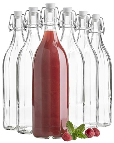 MÄSER Bügel 6X Bügelflasche in 10-Kant-Form à 1000 ml, Glasflasche 1 Liter mit Bügelverschluss, Glas, transparent