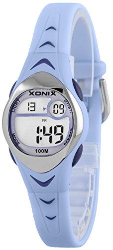 Zauberhafte kleine XONIX Armbanduhr für Mädchen mit Alarm Stoppuhr Timer WR100m, LE/5