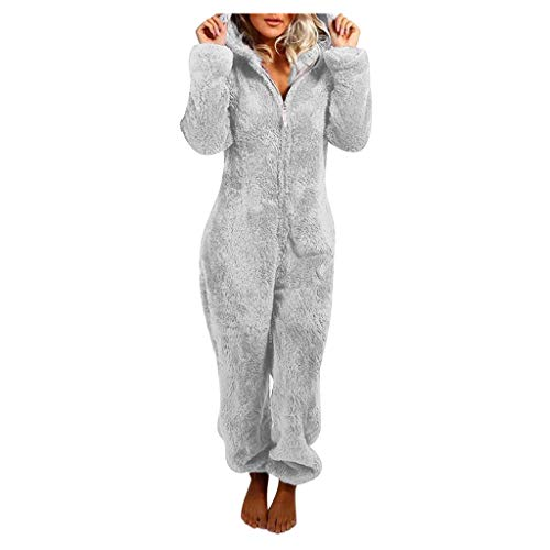 Damen Jumpsuit Overall aus Teddy Fleece Sportanzug Set Fleece Zip Onesie Jumpsuit Einteiler Overall mit Kapuze Flauschig Warme Pyjama Jumpsuits