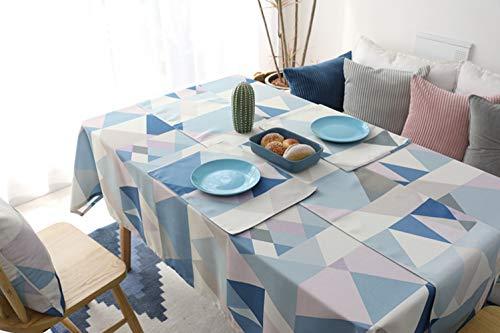 Morbuy Manteles Antimanchas, Mantel Rectangular de Antimanchas Impermeable Algodón Multicolor Vintage Decoración (140 * 160, Azul)