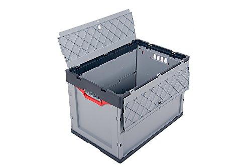 Profi-Faltbox mit Deckel 2er Set Auer Faltbox, FBD 64/42, 60x40x42 cm, 87 Liter, Behälter Stapelbehälter Aufbewahrungskiste Transportbox Plastikbox