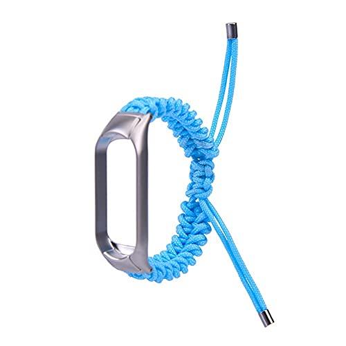 Correa de reloj trenzado de nylon para MI 5 3 4 para banda 5 Cinturón tejido a mano Pulsera de metal Moda de hebilla ajustable (Band Color : Blue, Band Width : For mi 5)