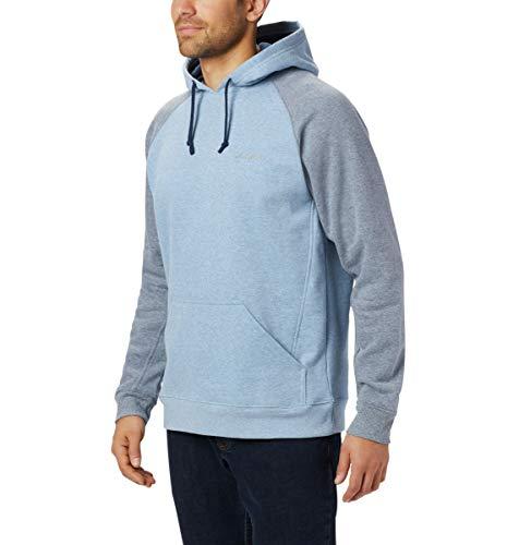 Columbia Men's Hart Mountain II Hoodie Sweatshirt, Scout Blue Heather, Collegiate Navy Heat, Medium
