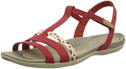 Clarks Tealite Grace, Sandalias con Tira Vertical para Mujer, Rojo (Red Nubuck), 39.5 EU