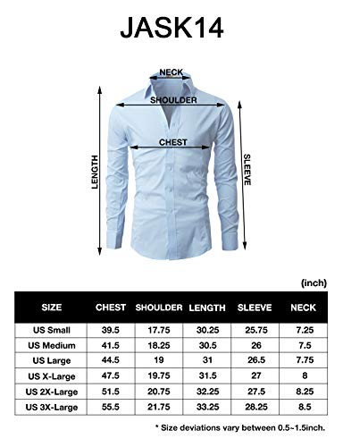 H2H Mens Wrinkle Free Slim Fit Dress shirts with Solid Long Sleeve GRAY US L (Asia XXL) (JASK 14)