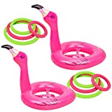 90shine 2 PCS Flamingo Inflatable Ring Toss Game - Pool Party Toys Supplies Luau Decorations
