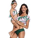 FeelinGirl Madre e Hija Bikini de 2 Piezas Volantes Estampado Floral Bañador Bandeau Sexy y Triángulo Bragas de Cintura Alta Conjunto de Traje De Baño para Familia Verano Playa Verde L(Talla 44)