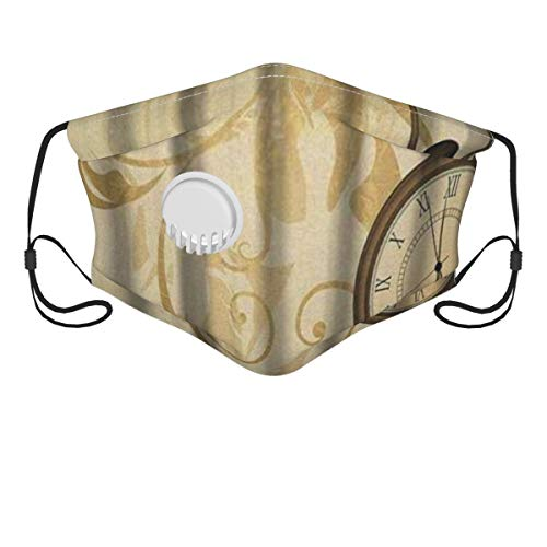 LISNIANY Gesichtsbedeckung,Uhr Rustikale Vintage Grungy Taschenuhren auf Kette Romantische Retro Kunst,Sturmhaube Unisex Wiederverwendbar Winddicht Staubschutz Mund Bandanas Outdoor Camping Running