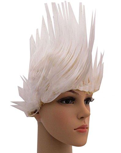 Sonia Originelli Perücke Irokese Iro Kopfbedeckung WM EM Fan Party Fasching Karneval Farbe Weiß