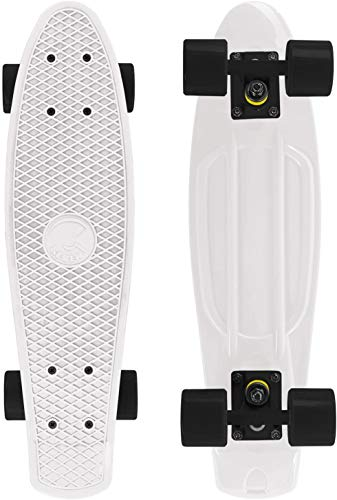 Skateboard 55cm/22inch para Principiantes Adultos y Niños, Mini Cruiser Retro Skateboard con All-in-One Skate 4 PU Ruedas (Blanco)