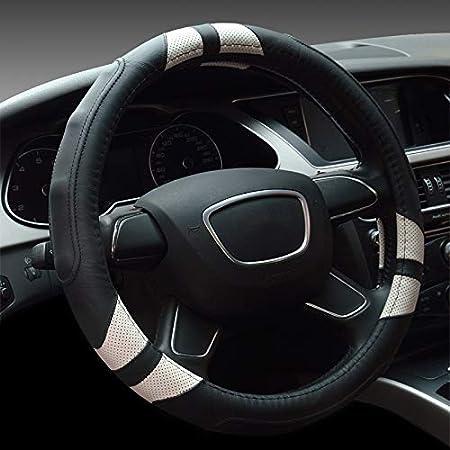 Yopria Premium Fahrzeuglenkradabdeckung Qualität Bequeme Auto Lenkradschutz Universal Durchmesser 38cm 15 Zoll Echtes Leder Rot Auto