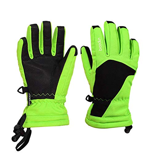Foern Niños Guantes Esquí Impermeable Guantes Invierno Nieve Táctiles Calientes Guante Nieve Térmica para Snowboard,Green,S/M(6-9years)