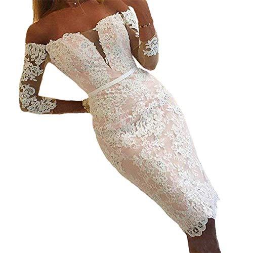 YASIOU Hochzeitskleid Damen Trägerlos Kurz Spitze Tüll Standesamt Vintage Brautkleider 3/4 ärmel Hochzeitskleider