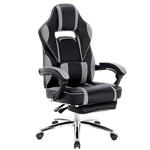 WOLTU Gaming Stuhl Racing Stuhl Bürostuhl Chefsessel Schreibtischstuhl Sportsitz mit Lendenkissen, mit Fußstütze, Kunstleder, höhenverstellbar, Grau, BS25gr