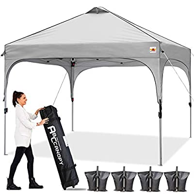 ABCCANOPY Canopy Tent 10x10 Pop Up Canopy Outdoor Canopies Super Comapct Canopy Portable Tent Popup Beach Canopy Shade Canopy Tent with Wheeled Carry Bag Bonus 4xWeight Bags,4xRopes&4xStakes, Gray
