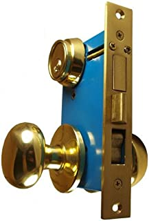 "Maxtech Heavy Duty ORNAMENTAL Iron Gate Double Cylinder Mortise Lockset 2-1/2"" Backset 1""X 7-1/8"" Faceplate Polish Brass (Right Hand )"
