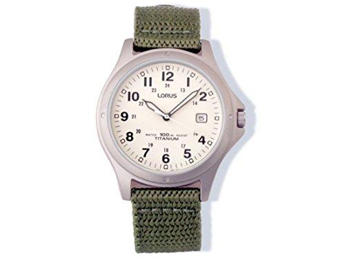 Lorus orologio al quarzo con quadrante analogico color crema e cinturino in tela verde militare (RXD425L8)