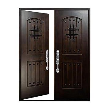 Front Door with Speakeasy 36 x36 x80  Window Exterior Door Wood Door with Iron Metal Protection Entry Door in Dark Walnut Stain Finish KA Wood Door  36 X36 x80  Left Hand Inward Swing