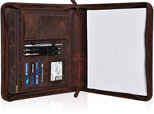 Leather Portfolio for Men and Women - Multi Pocket Zippered Padfolio Folder (Mocha)