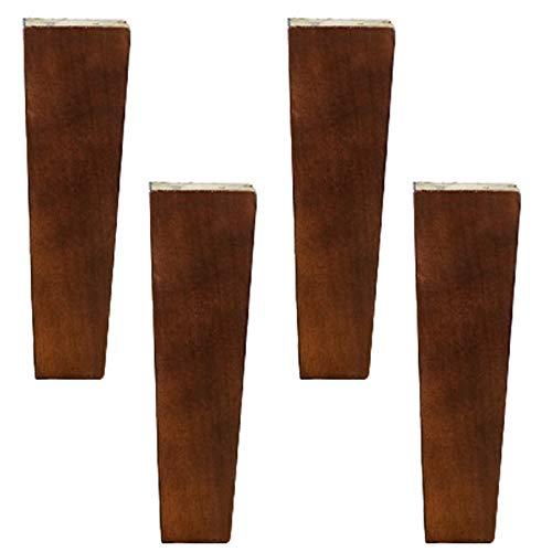 4 Patas de Muebles de Madera Maciza,Pies de Gabinete de Cocina,Piernas de Sofá de Repuesto,Pies de Muebles de Madera de Caucho,Con Placa de Montaje y Tornillos,Rojo Marrón(straight15cm(5.9in))