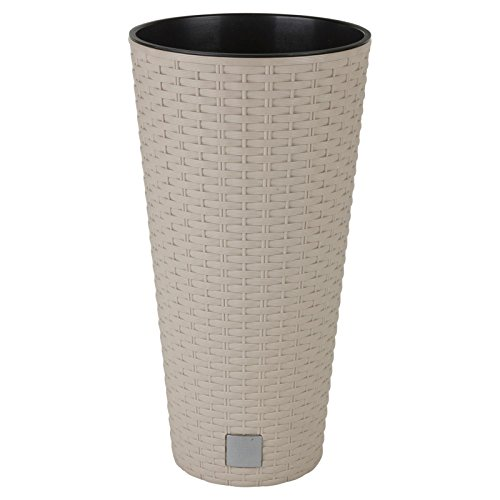 Vaso per fiori o piante, in rattan, elegante, alto, di grandi dimensioni, per interni ed esterni, plastica, Beige, Rotondo