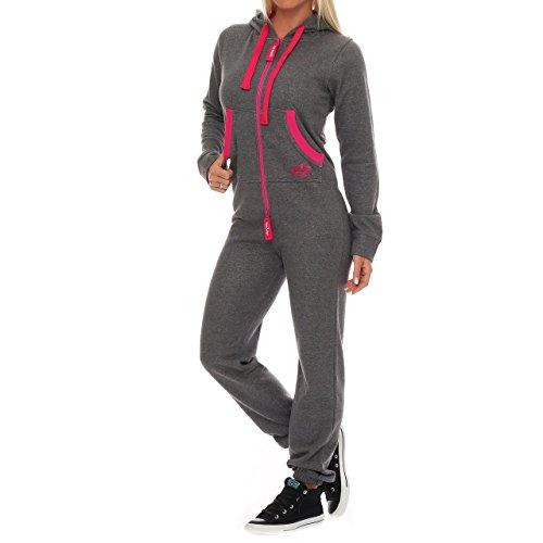 28A2 Finchgirl FG18R Damen Jumpsuit Overall Dunkelgrau/Pink Gr. XL