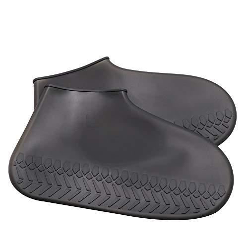AMIYAN Regenüberschuhe Regenschutz Wasserdicht Flache Regen Überschuhe Schuhüberzieher Rutschfester Silikon-Schuhüberzug Radsportschuhe SchwarzM