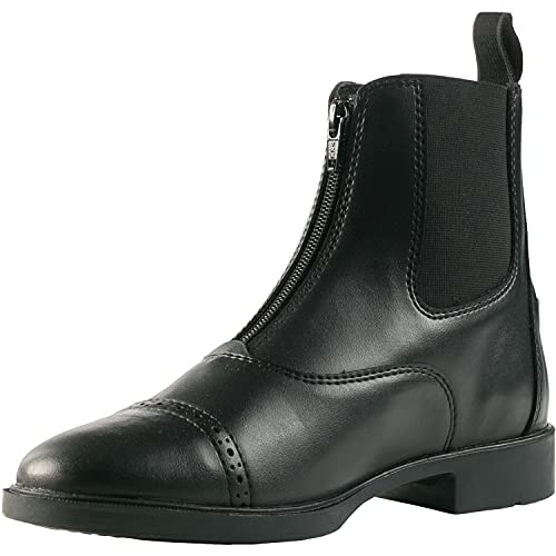 horze Wexford Reitstiefel synthetische Paddock Stiefel mit Reißverschluss für Damen, Schwarz, 38