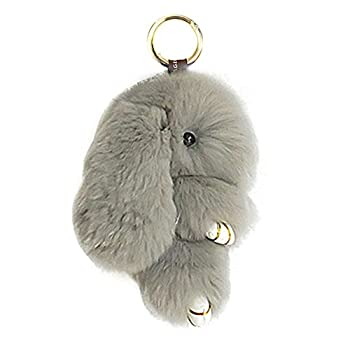 Song Qing Cute Bunny Keychain Soft Rabbit Fur Pompom Ball Fluffy Keyring