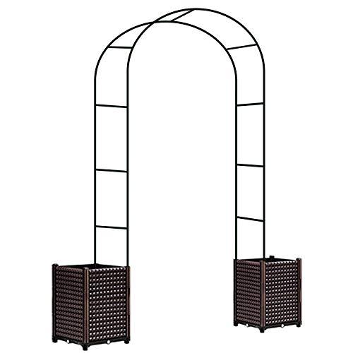 LLZH Arco per Rose Rampicanti Metallo con Fioriera Pergola Decorativa 3 Dimensioni Variabili Pergolato Arco da Giardino,Large Plant Bed