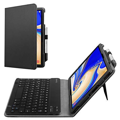 Fintie Tastatur Hülle für Samsung Galaxy Tab S4 T830 / T835 (10.5 Zoll) 2018 Tablet - Slim Fit Kunstleder Stand Schutzhülle mit Magnetisch Abnehmbar Drahtloser Bluetooth Tastatur, Schwarz