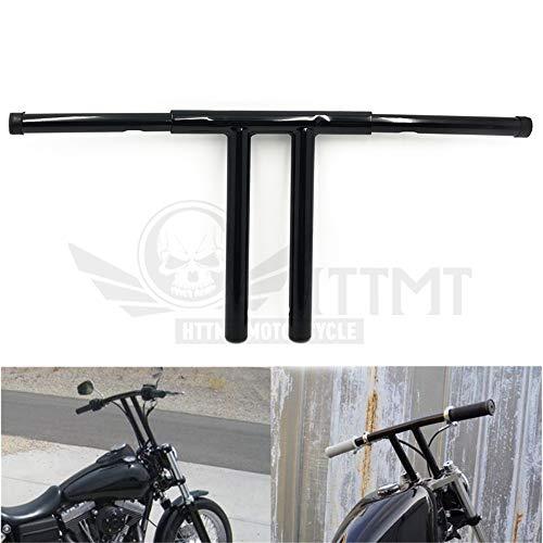 "HTTMT HB017 Black 10"" Rise T-Bars Handlebar Drag Bar Compatible with Harley 96-17 Sportster Dyna Softail"