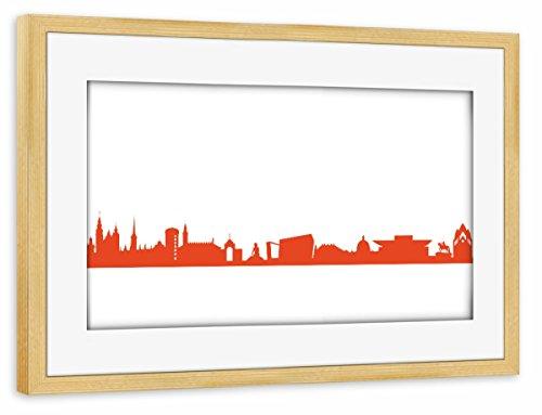 artboxONE Poster mit Rahmen Kiefer 75x50 cm Copenhagen 03 Monochrom Tangerine von 44spaces - gerahmtes Poster
