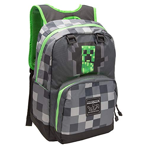 JINX Minecraft Creepy Creeper Kids School Backpack, Gray, 17', Dark Grey, N/A