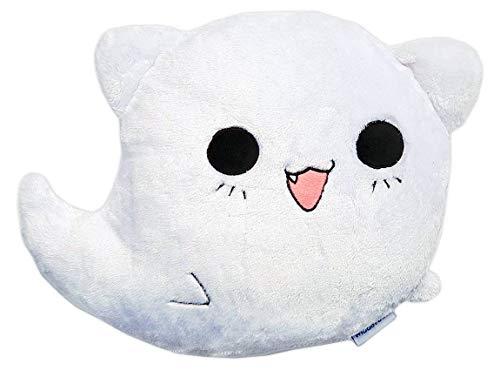 moodrush® Ghost Cat Smiley Kissen Geister-Katze   alle Elemente aufgestickt (nicht bedruckt!)   waschbar   ca. 38x38 cm