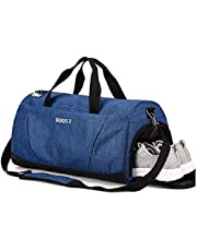 (Blue) - Sports Gym Bag with Shoes Compartment for Men and Women