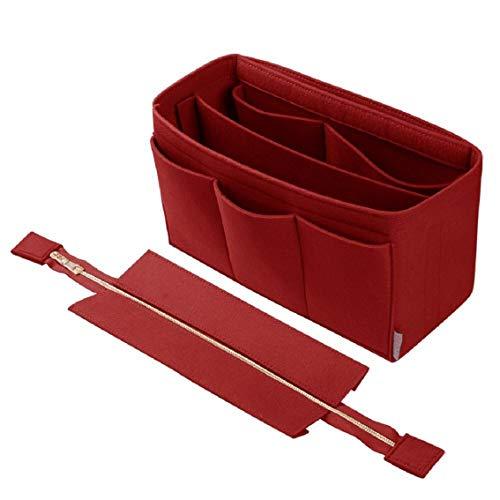 Purse Organizer Insert,Felt Bag Organizer with NEW Detachable Zipper cover, fits, St Lious, Tote and handbag shaper (Medium, Red)