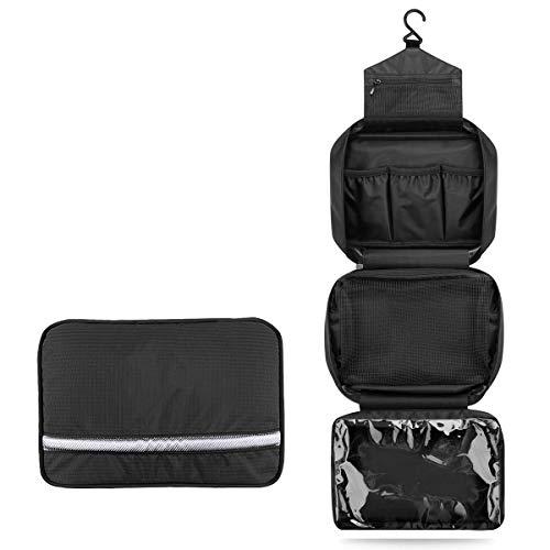 Neceser de Viaje para Colgar Bolsas de Aseo con Compartimento Impermeable y Plegable Bolsa de Cosméticos/Maquillaje con Correa para Hombre Mujer