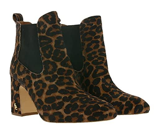 Kurt Geiger Raylan Echtleder-Stiefelette Klassische Damen Ankle-Boots Ausgeh-Stiefel Mode-Schuhe mit Animal-Muster Braun, Größe:40