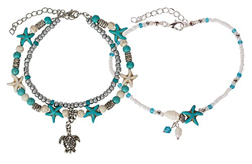 SPUNKYsoul Turtle Charm Starfish Howlite Anklet Multiple Layered Boho Silver New! Turquoise Colored Pearl Chain Set for Women Beach Collection