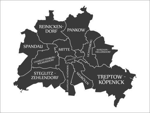 Cuadro de metacrilato 90 x 70 cm: Modern City Map of Berlin de Ingo Menhard